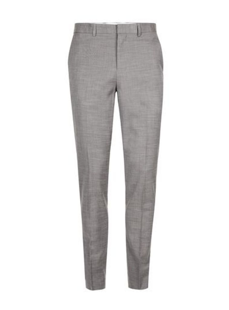 Mens Mid Grey Grey Marl Muscle Fit Suit Trousers, Mid Grey