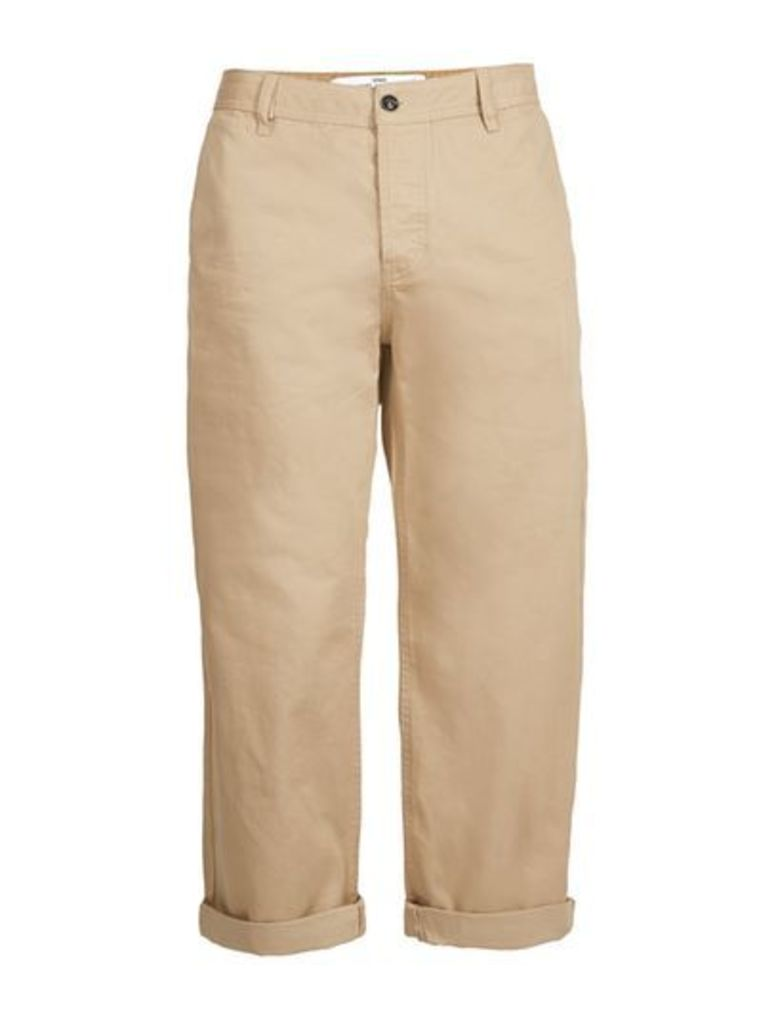 Mens Stone Cropped Wide Leg Chinos, Stone