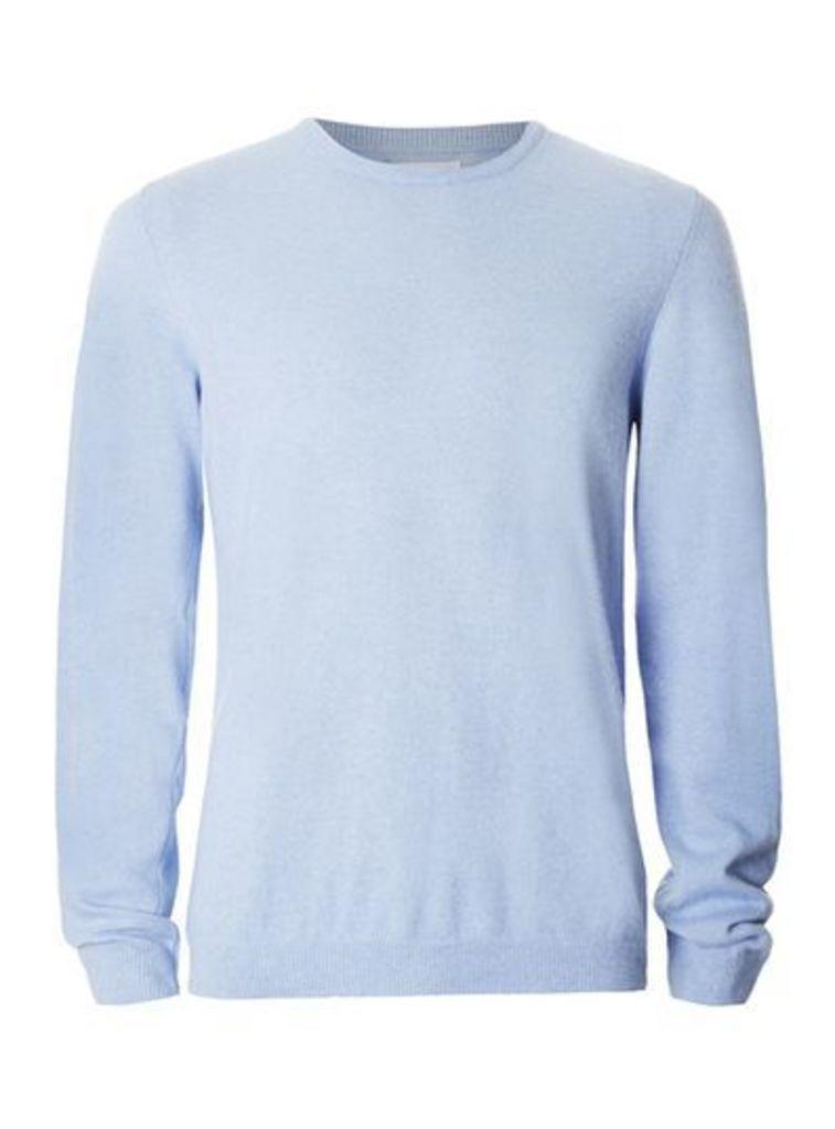 Mens Premium Blue Slim Fit Jumper Containing Cashmere, Blue