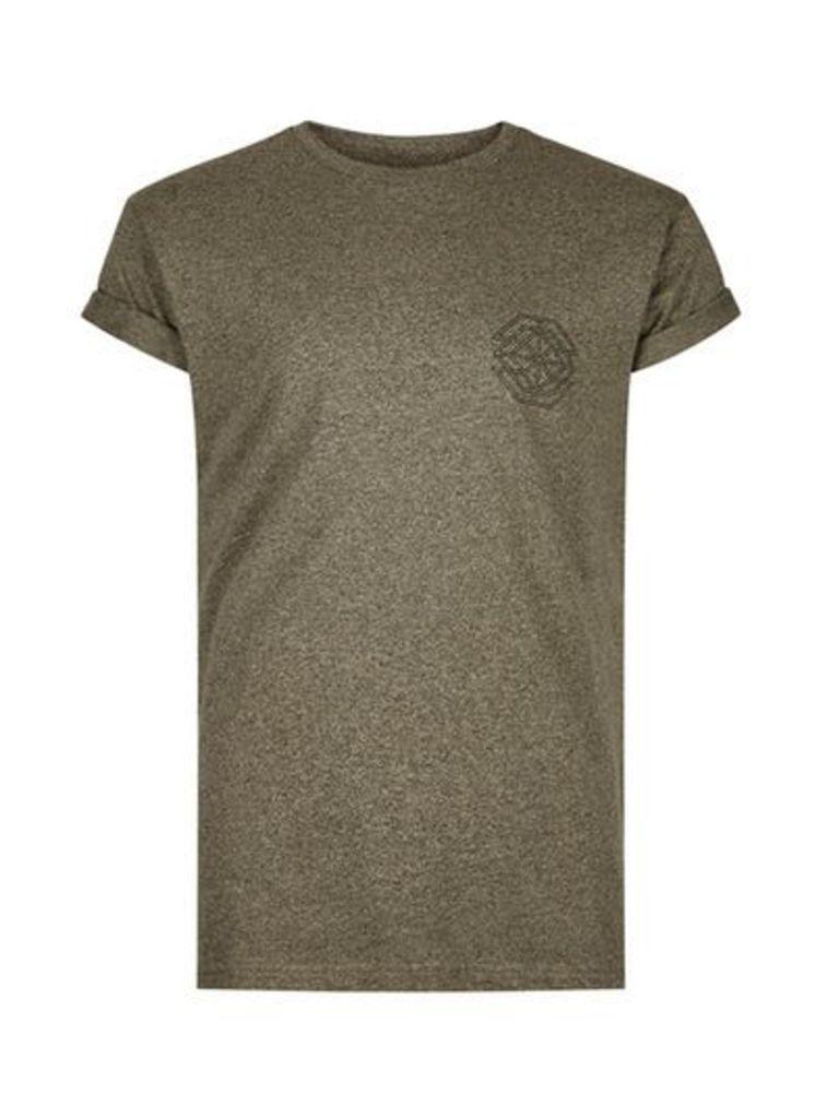 Mens Green Khaki Chest Print Muscle Fit Roller Sleeve T-Shirt, Green