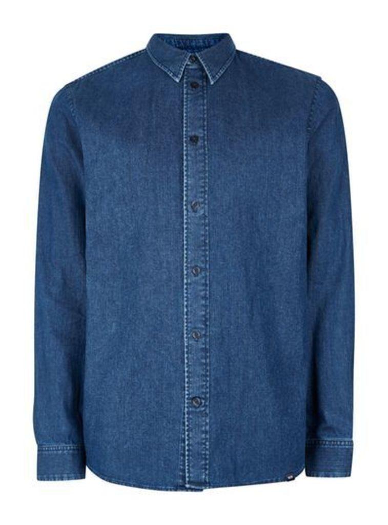Mens WOOD WOOD Dark Blue Lightweight Denim Shirt, Blue