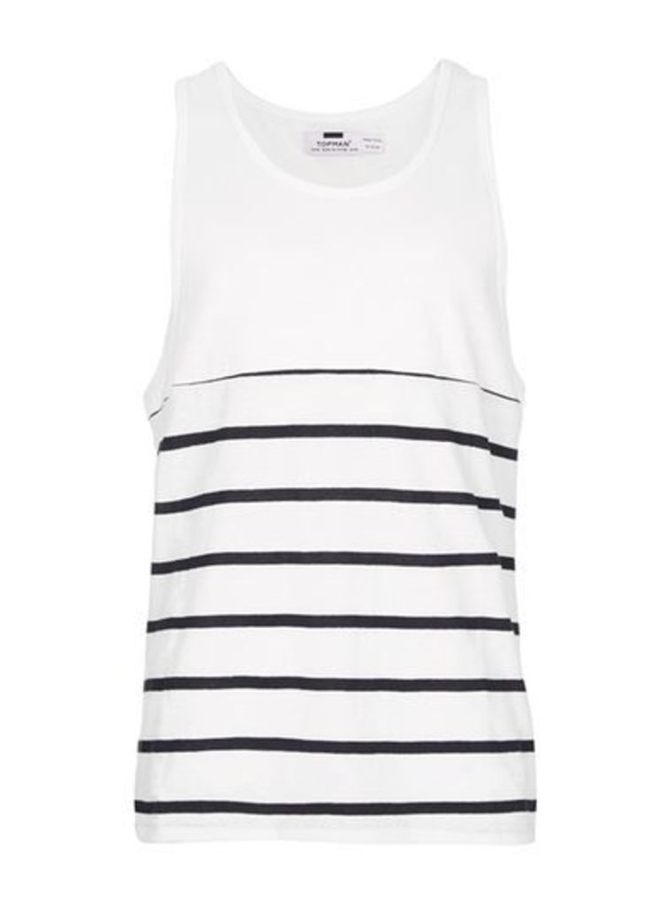 Mens Multi Navy and White Breton Stripe Vest, Multi