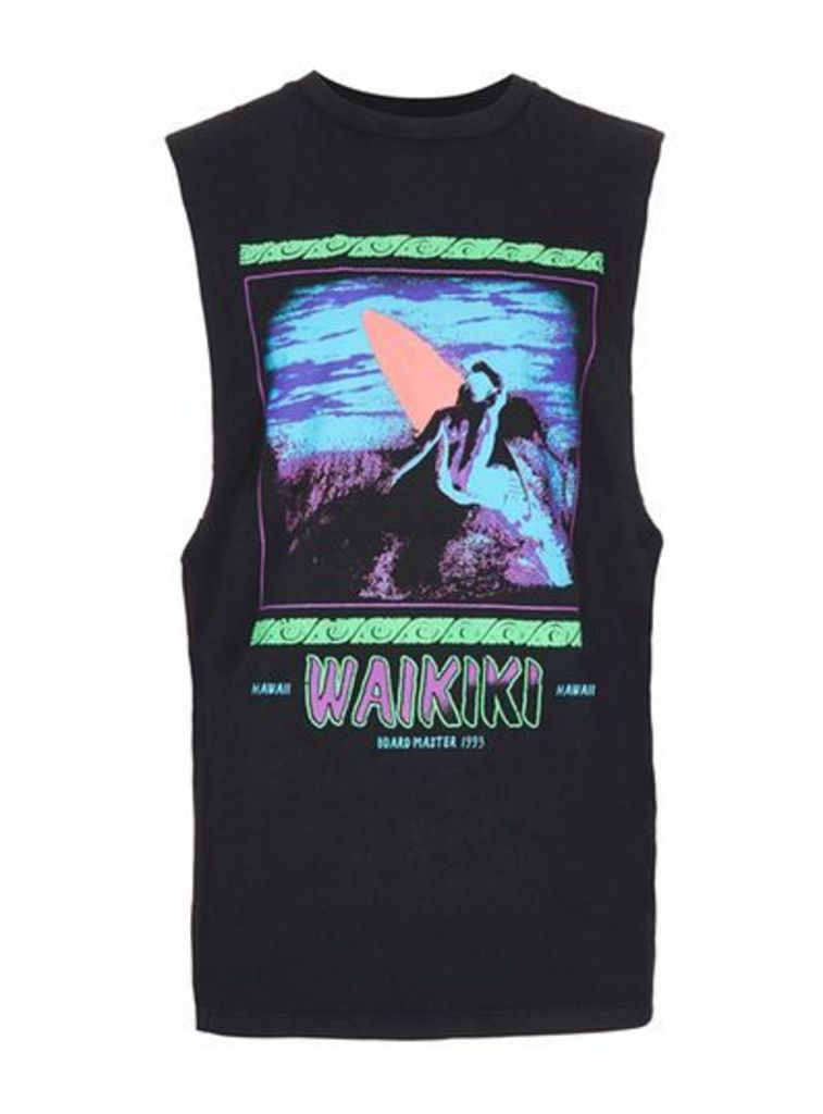 Mens Washed Black Waikiki Print Oversized Tank Vest, Black