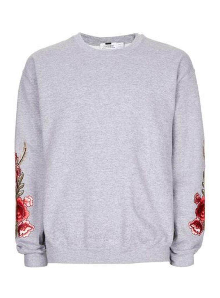 Mens Grey Rose Embroidered Sweatshirt, Grey