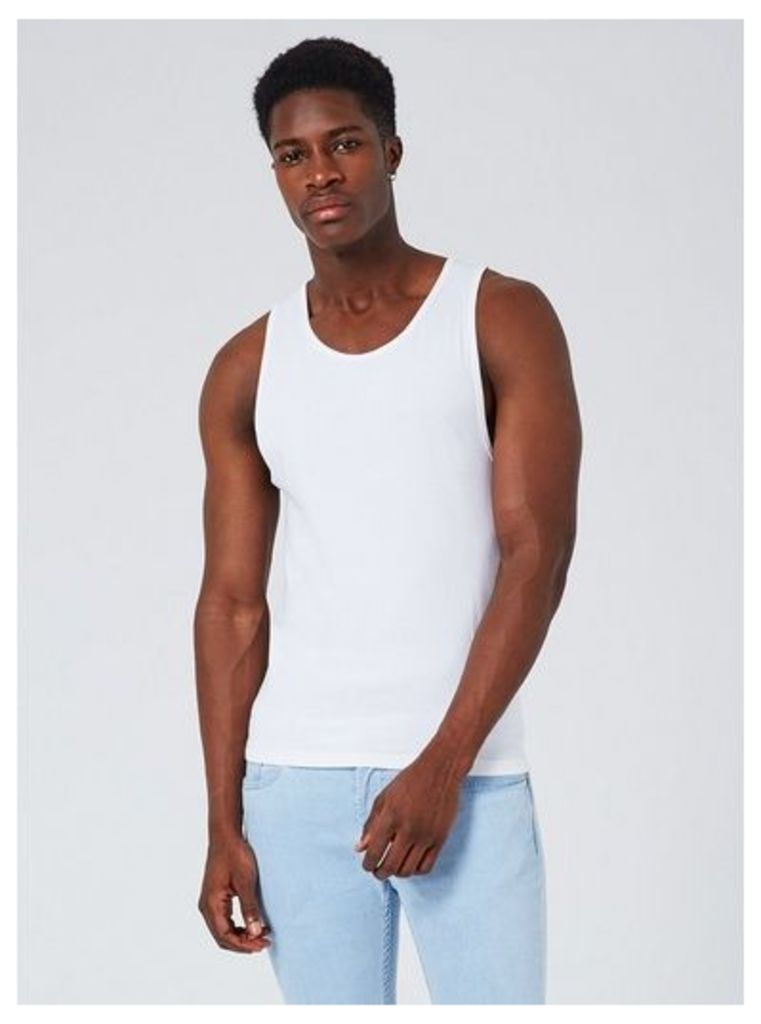 Mens White Ultra Muscle Fit Vest, White