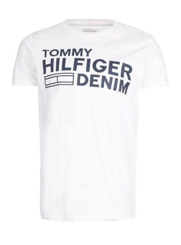 Mens HILFIGER DENIM White Flag Logo T-Shirt, White