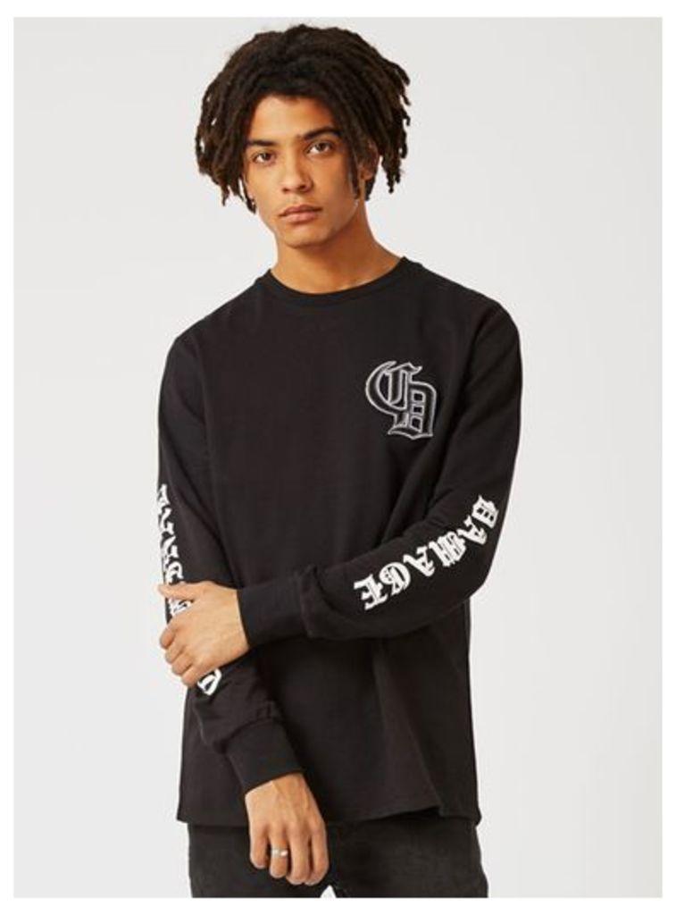 Mens CRIMINAL DAMAGE Black Los Angeles Long Sleeve T-Shirt, Black
