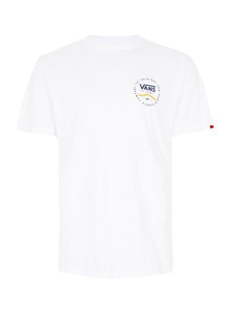 Mens VANS White Back Printed T-Shirt, White