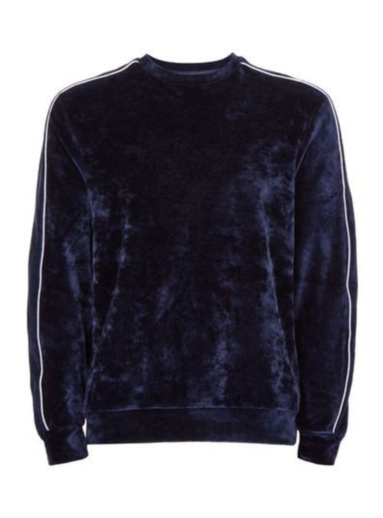 Mens Blue Navy Velour Piped Sweatshirt, Blue