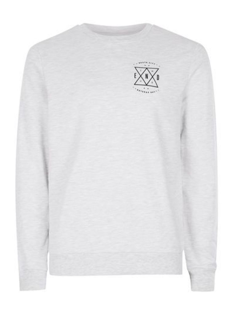 Mens Frost Grey End Print Sweatshirt, Grey