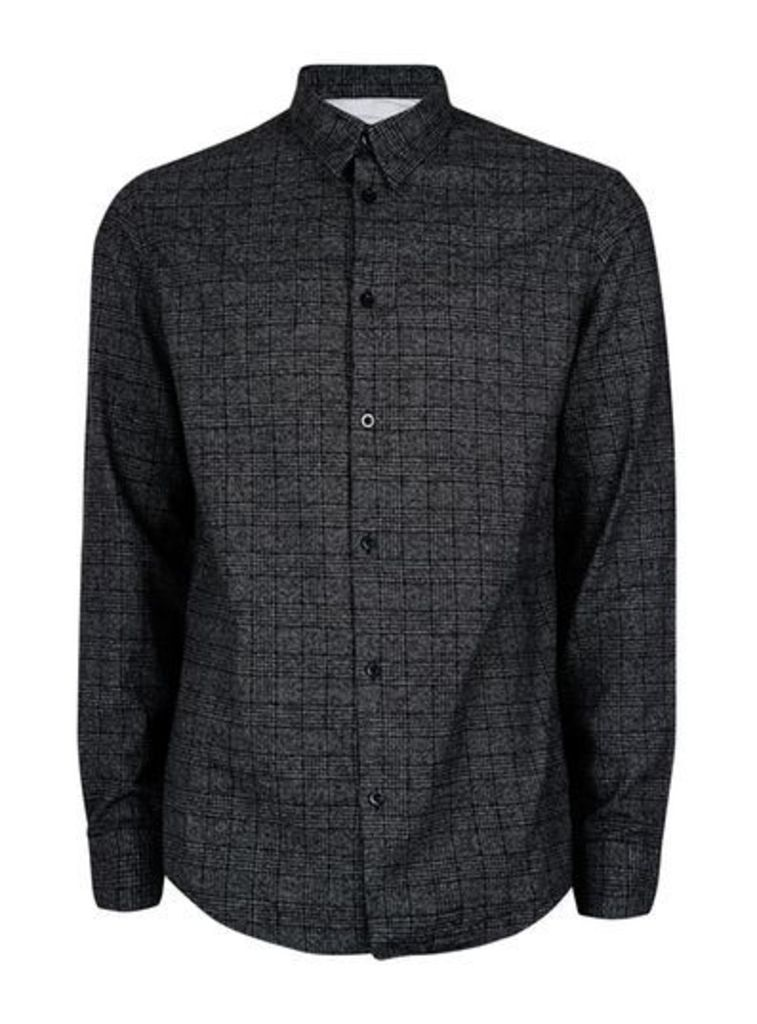 Mens SELECTED HOMME Washed Black Checked Cotton Shirt, Black