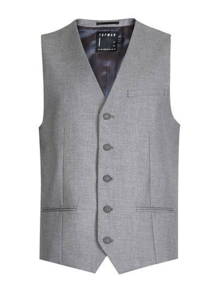Mens Grey Skinny Fit Suit Waistcoat, Grey