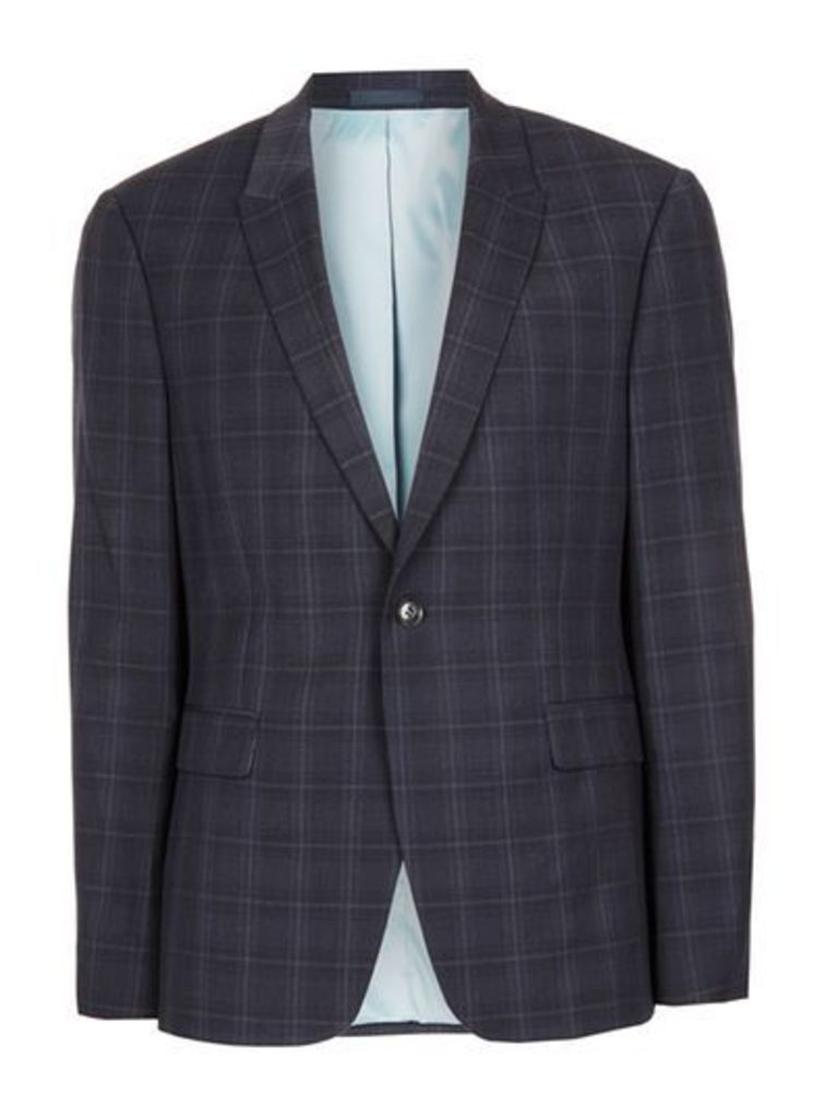 Mens Blue Navy Check Ultra Muscle Fit Suit Jacket, Blue