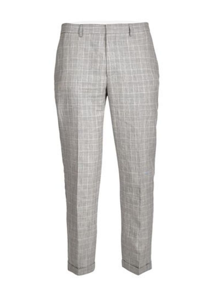 Mens Grey Check Linen Blend Skinny Fit Suit Trousers, Grey
