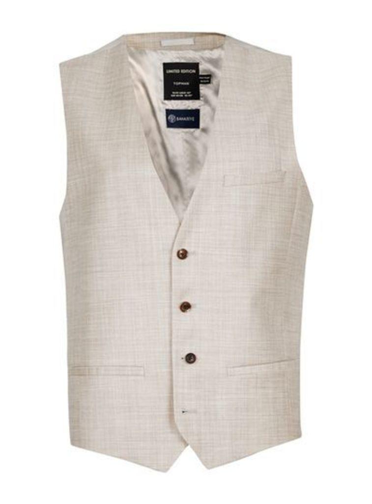 Mens Brown Stone Crosshatch Wool Suit Waistcoat, Brown