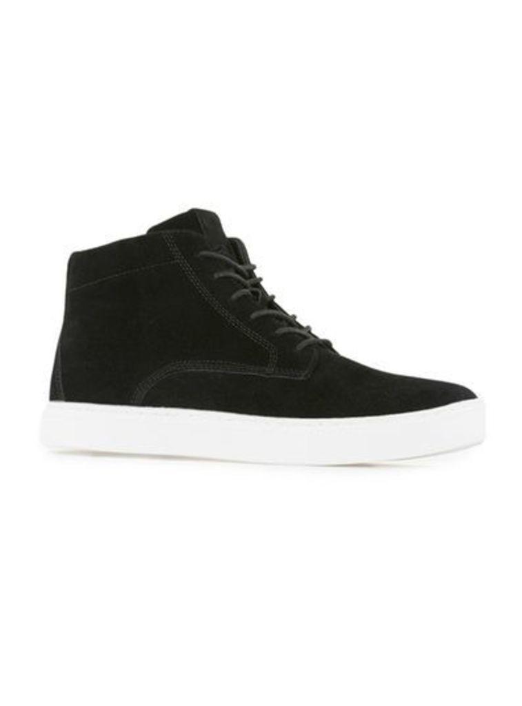 Mens Black Faux Suede Sports Lace Boots, Black