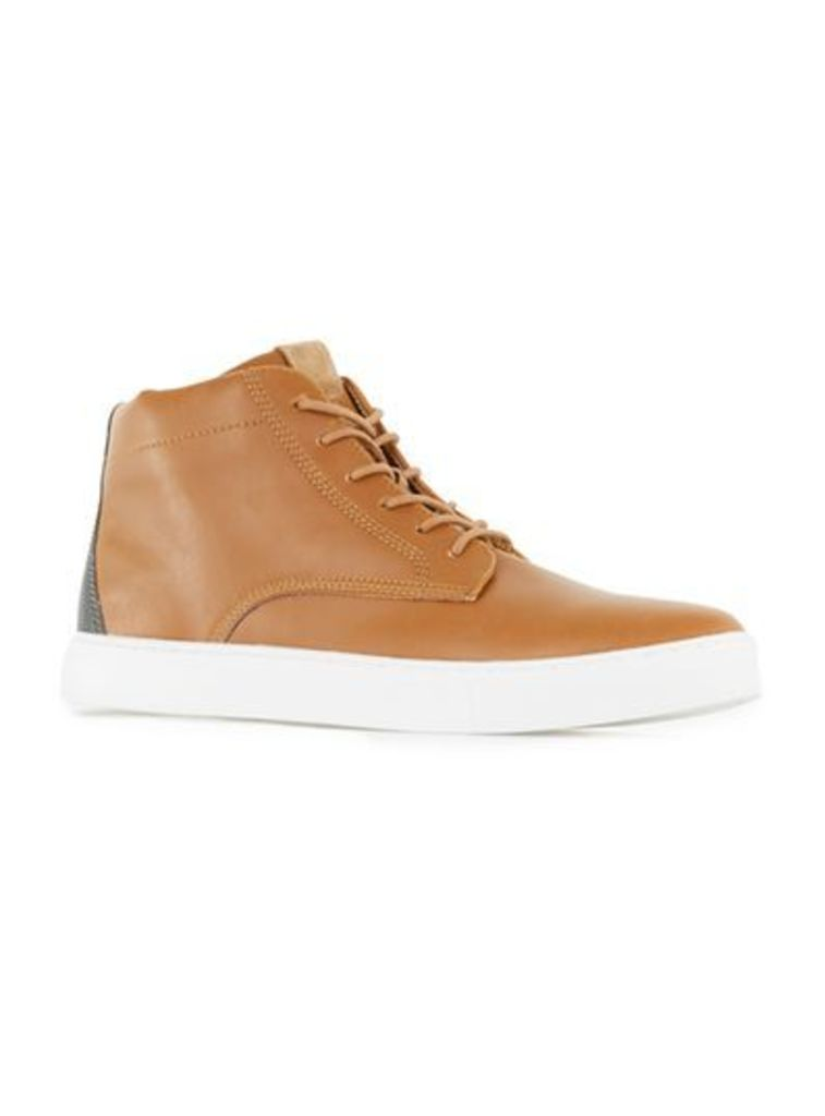 Mens Brown Tan PU Sports Lace Up Boots, Brown