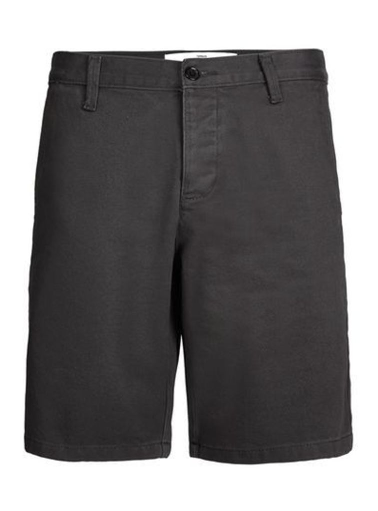 Mens Black Slim Worker Chino Shorts, Black