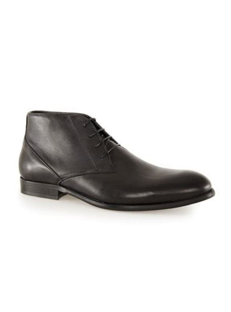 Mens Black Leather Chukka Boots, Black