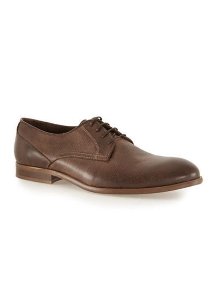 Mens Brown Tan Leather Derby Shoes, Brown