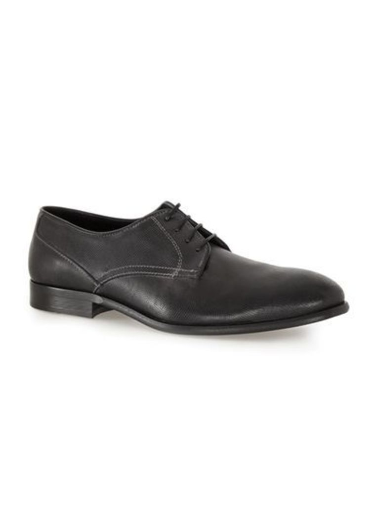 Mens Black Leather Derby Shoes, Black
