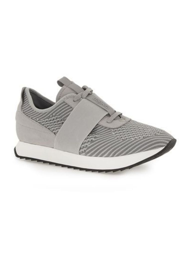 Mens CORTICA Grey Knitted Racer Trainers, Grey