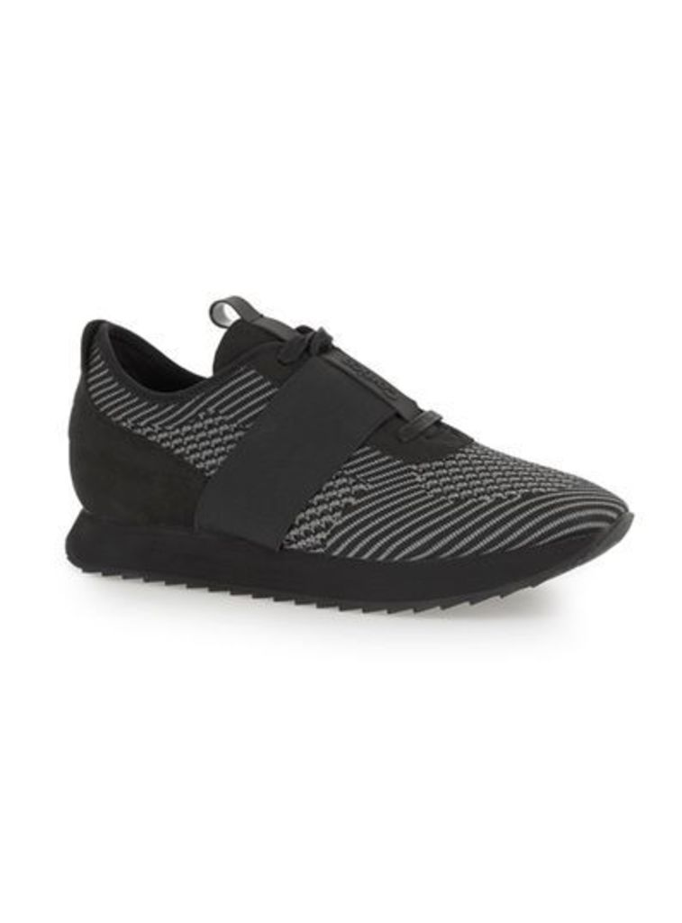 Mens CORTICA Black Knitted Racer Trainers, Black