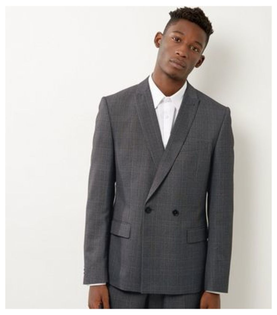 Light Grey Check Slim Fit Double Breasted Suit Jacket