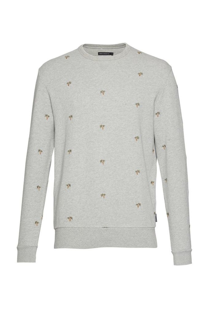 Men's French Connection Party Palms Embroidered Sweatshirt, Grey