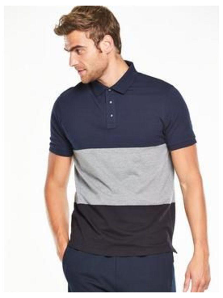 V by Very Short Sleeve Colour Block Polo, Navy, Size Xl, Men