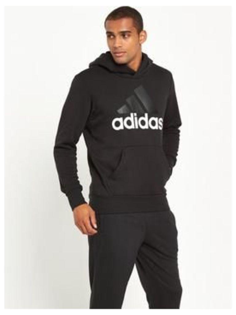 adidas Essentials Linear Overhead Hoody, Black, Size M, Men