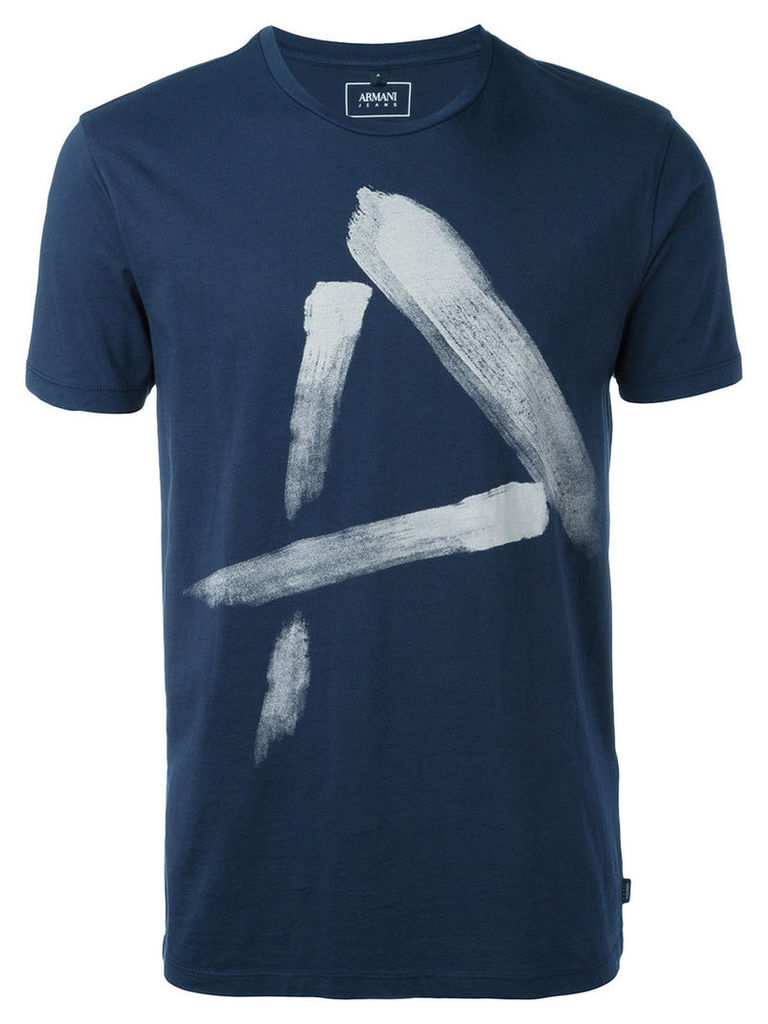 Armani Jeans - painted 'A' T-shirt - men - Cotton - XL, Blue
