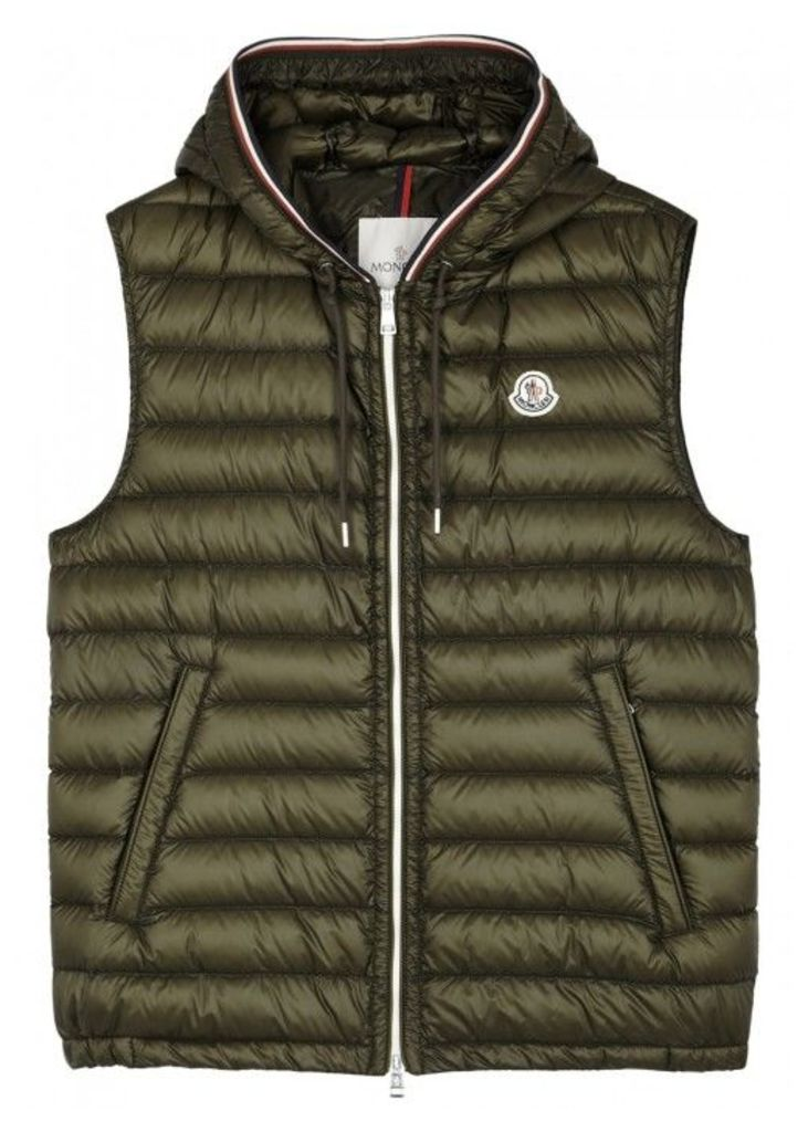 Moncler Cyriaque Olive Quilted Shell Gilet - Size 5