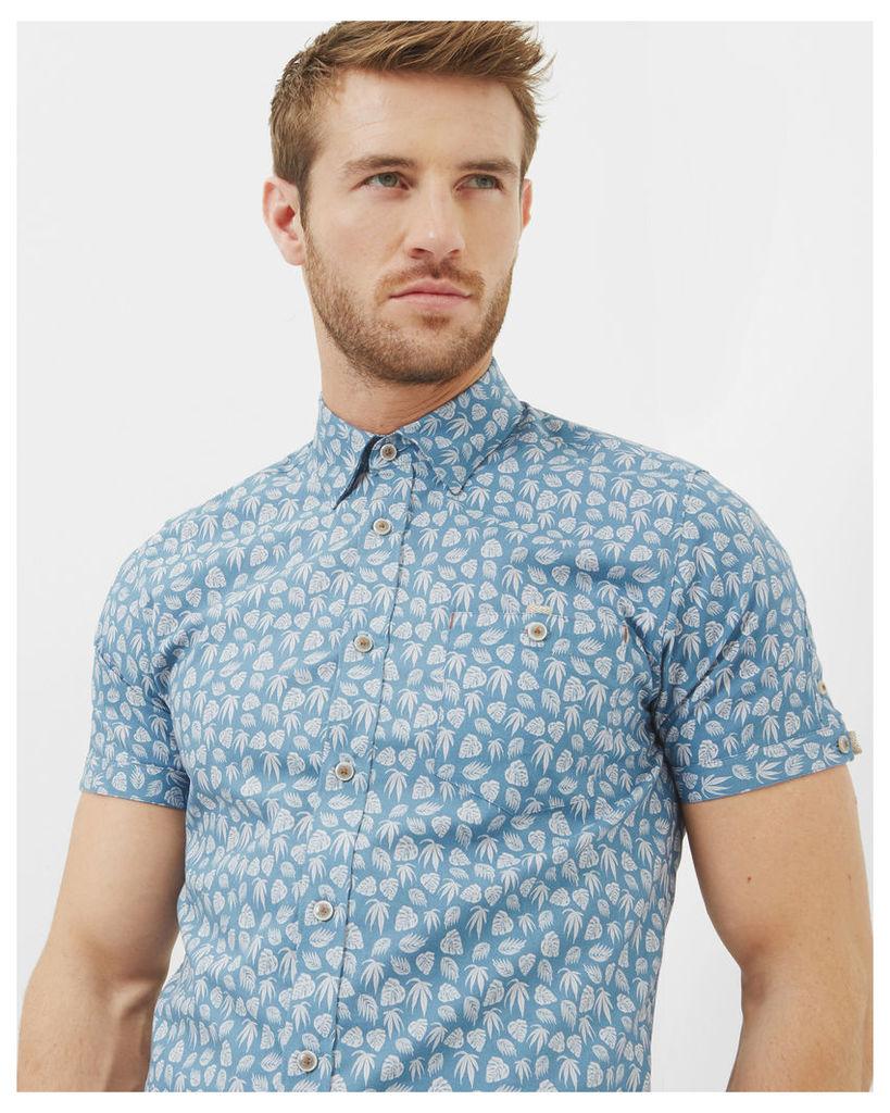 Ted Baker Leaf print cotton shirt Blue