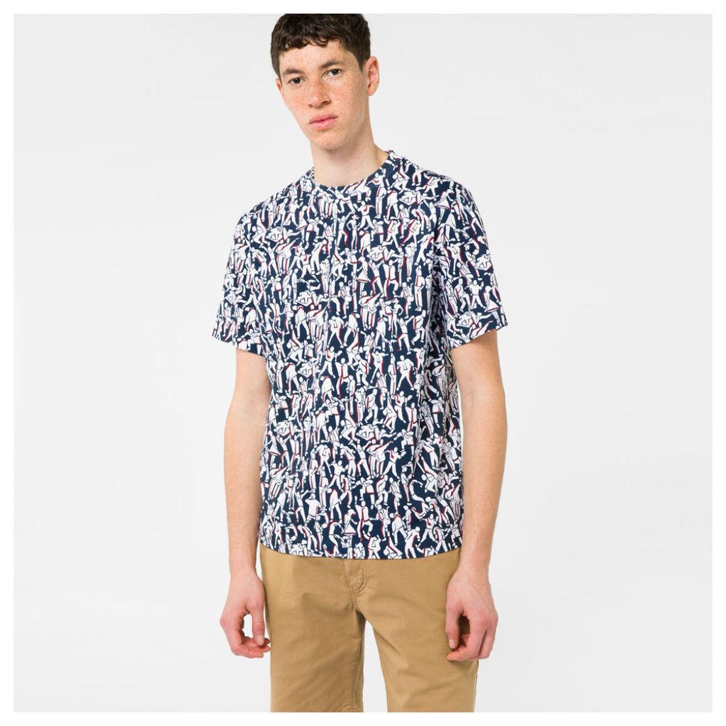 Men's Navy And White 'Dancing' Print T-Shirt