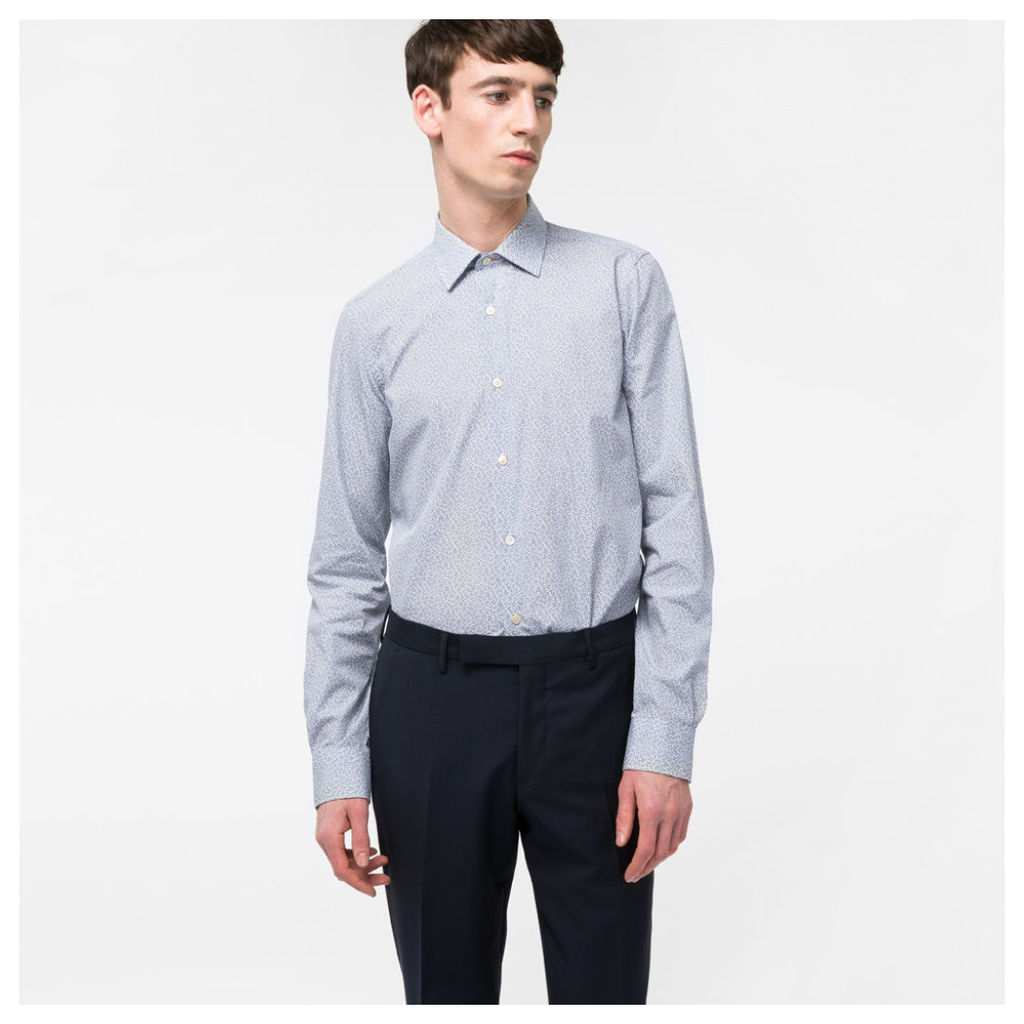 Men's Tailored-Fit Light Blue 'Fern Floral' Print Cotton Shirt