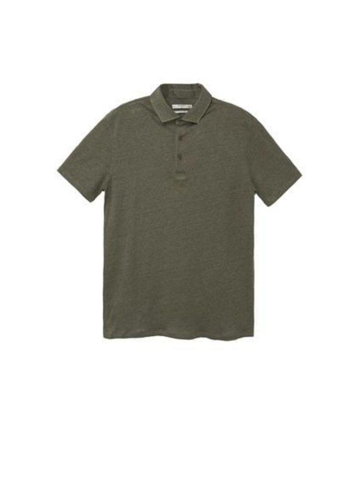 100% linen polo shirt
