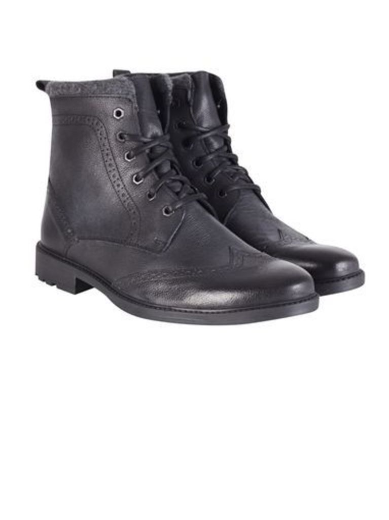 Mens Black Leather Brogue Boots, Black