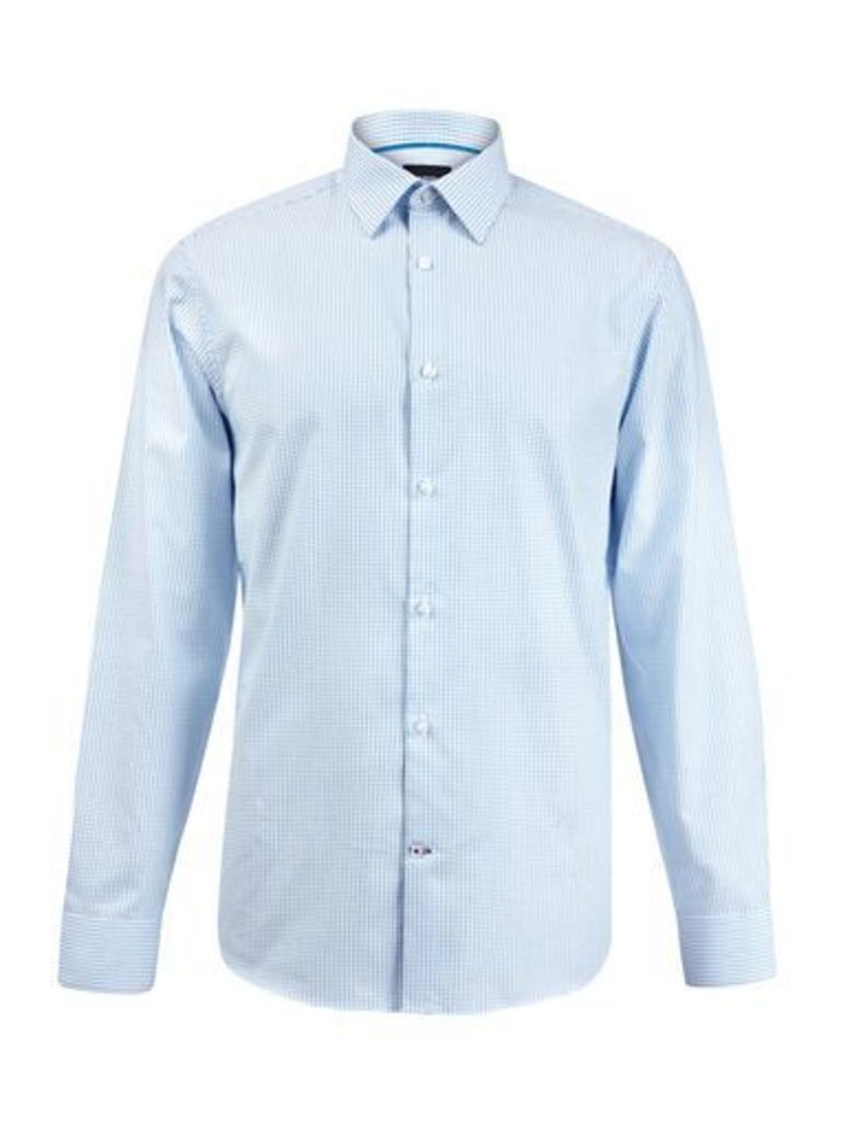 Mens Teal Tailored Fit Texture Cotton Shirt, Blue