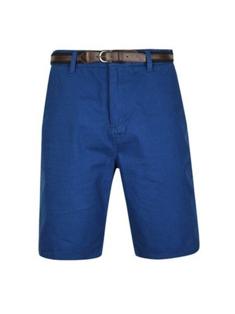 Mens Tokyo Laundry Mid Blue Shorts with Belt*, MID BLUE