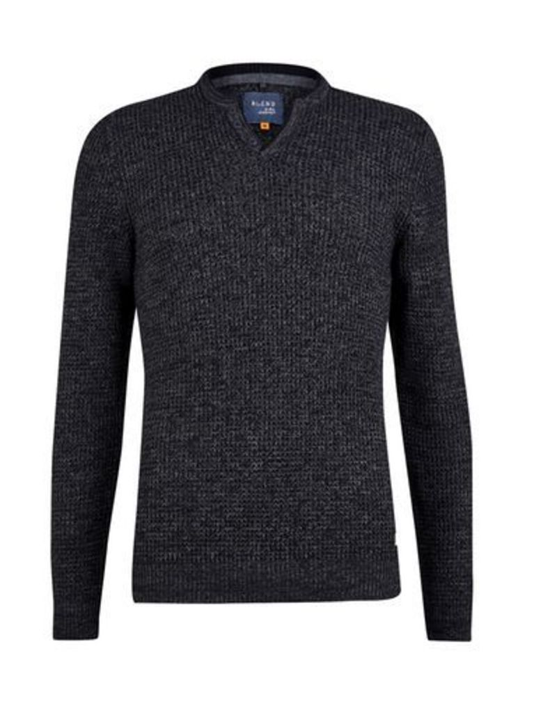 Mens Blend Charcoal Slim Fit Pullover*, Grey