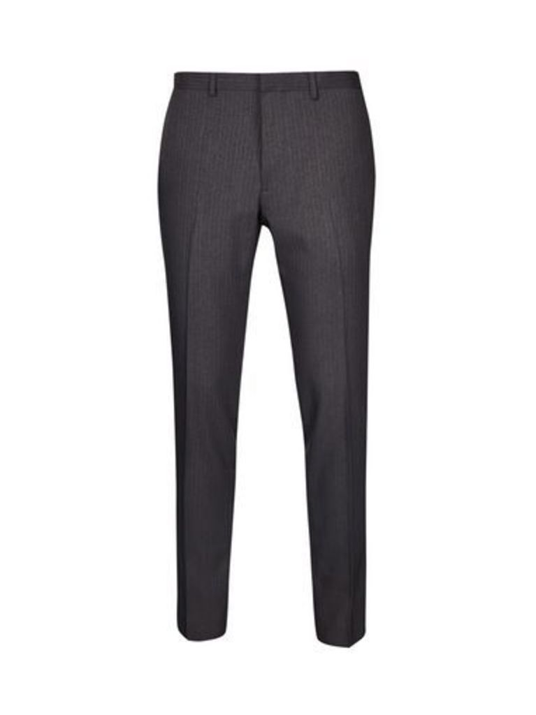 Mens Charcoal Skinny Fit Pinstripe Trousers, CHARCOAL