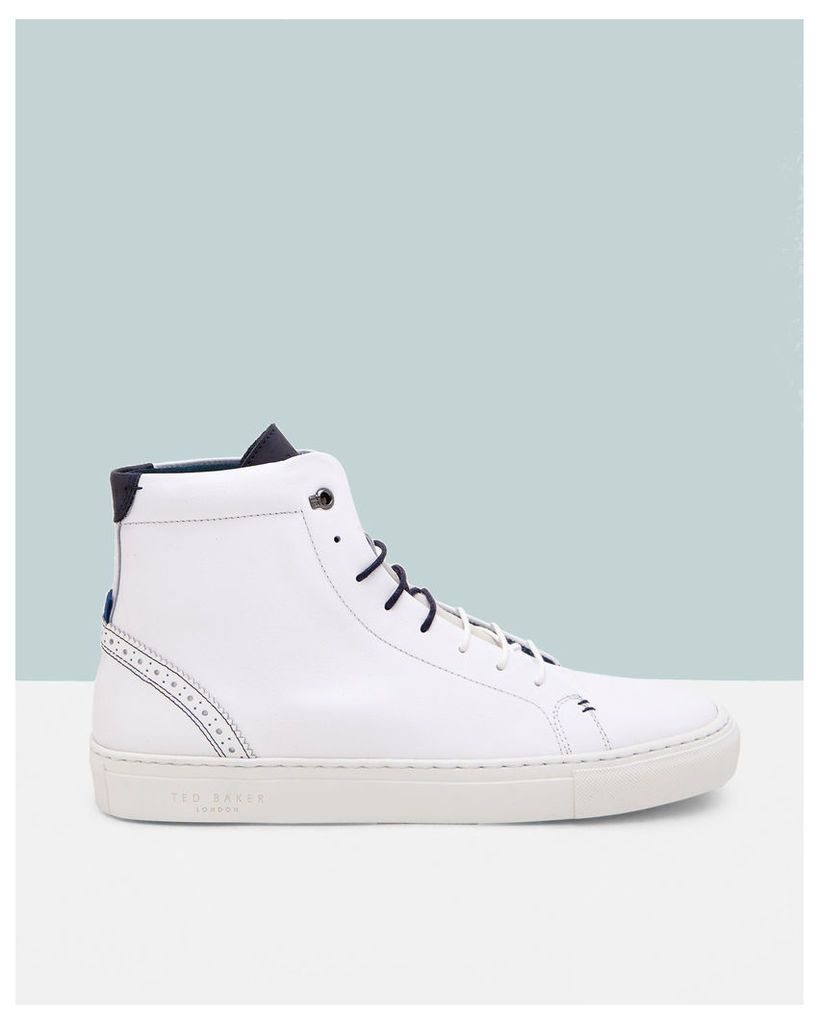 Ted Baker Brogue detail hi-top trainers White