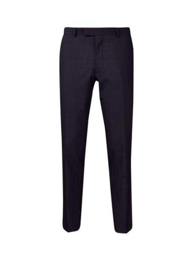 Mens West End By Simon Carter Navy And Black Check Slim Fit Suit Trousers*, grey