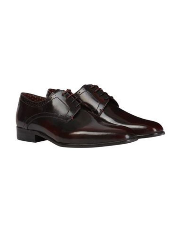 Mens London Brogues Burgundy Polished Leather Shoes, BURGUNDY
