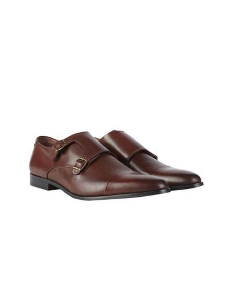 Mens Brown Leather Monk Shoes, Brown