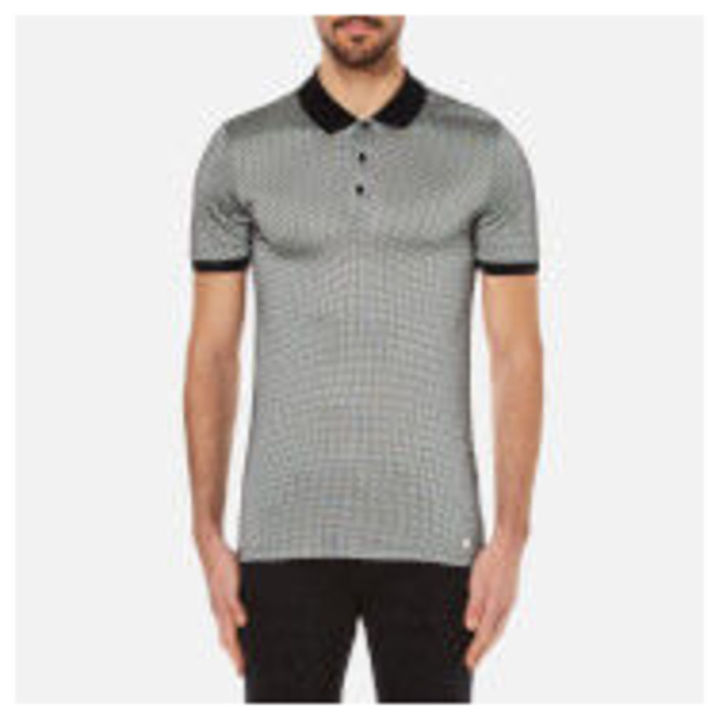 Versace Collection Men's Printed Polo Shirt with Contrast Collar - Black - L