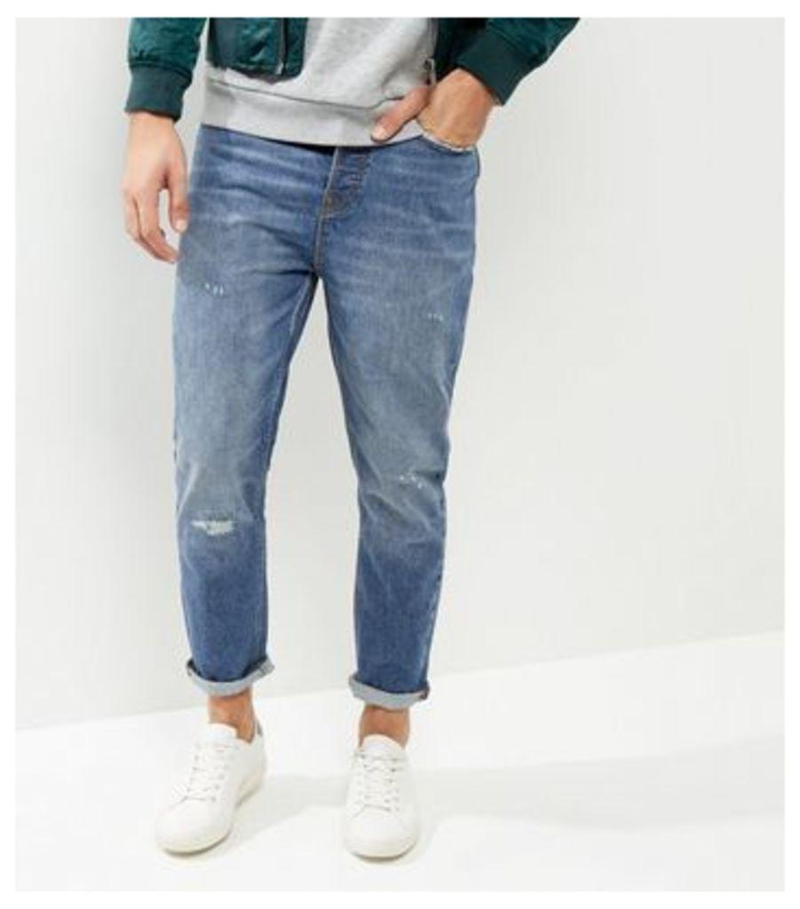 Blue Tapered Slim Leg Rip Stitch Jeans