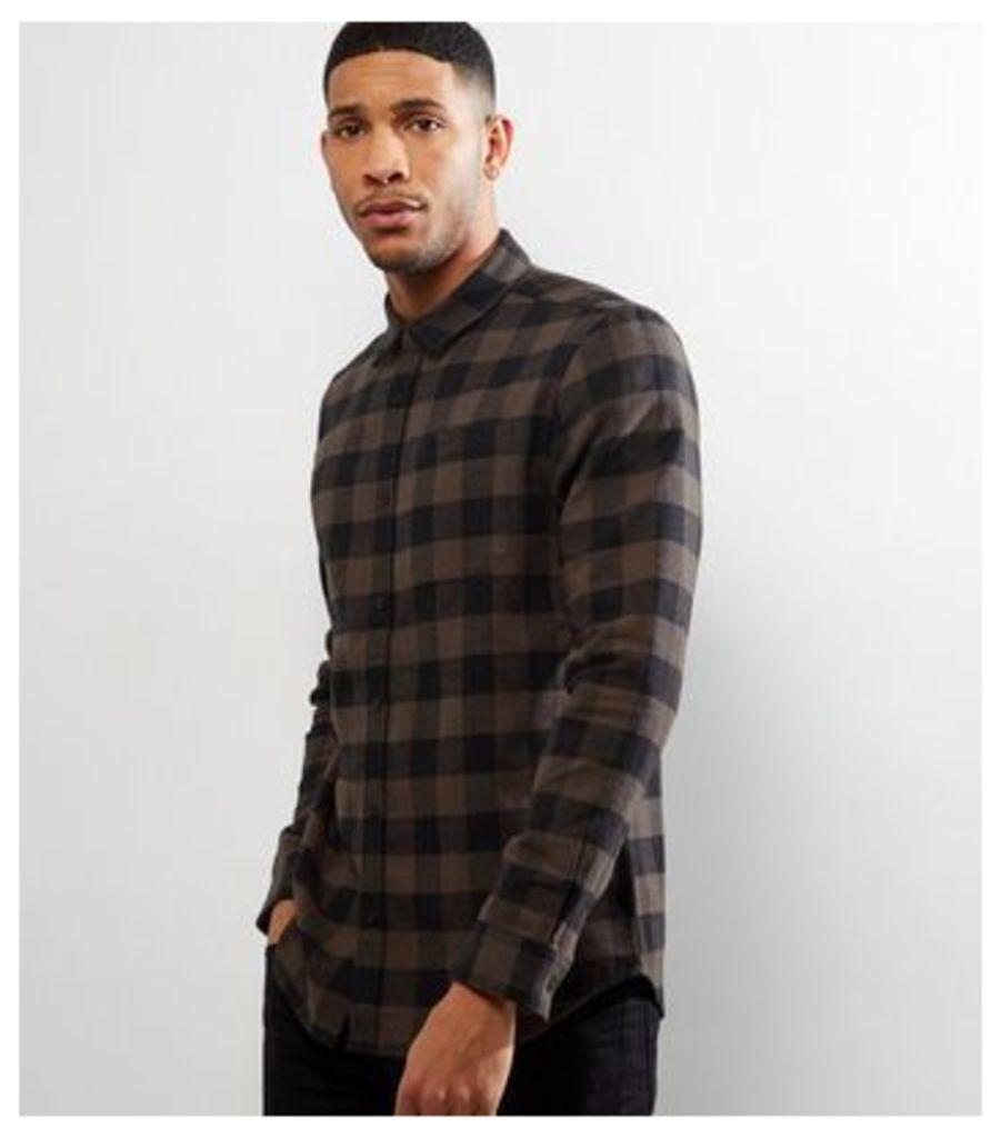 Dark Grey Check Long Sleeve Shirt