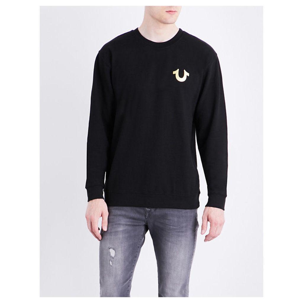 Metallic logo-print cotton-blend T-shirt